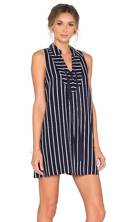 J.O.A. Lace Up Stripe Mini Dress in Navy | REVOLVE