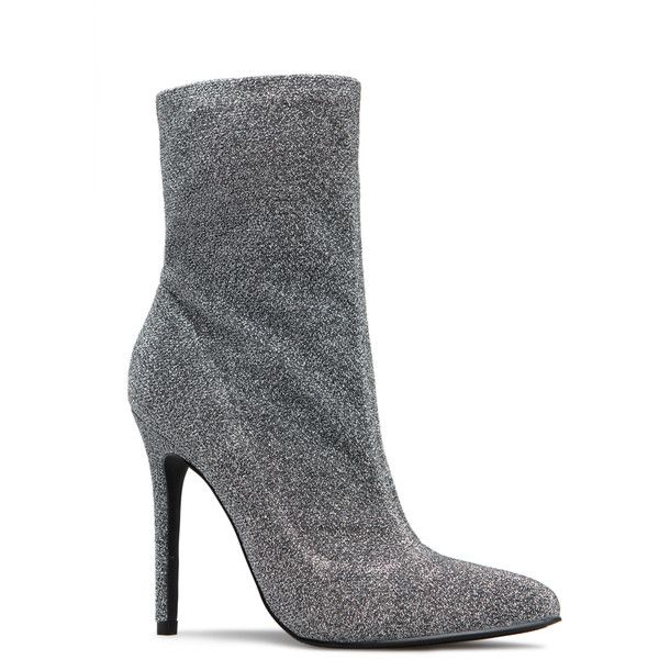 ShoeDazzle Booties Vicky Bootie Womens Silver ❤ liked on Polyvore featuring shoes, boots, ankle booties, booties, silver, sock ankle boots, pointed toe bootie, short boots, pointed toe ankle boots and pointy-toe boots