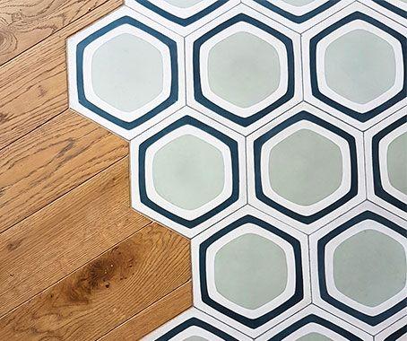 Hexagon tiles Victorian tiles bar London