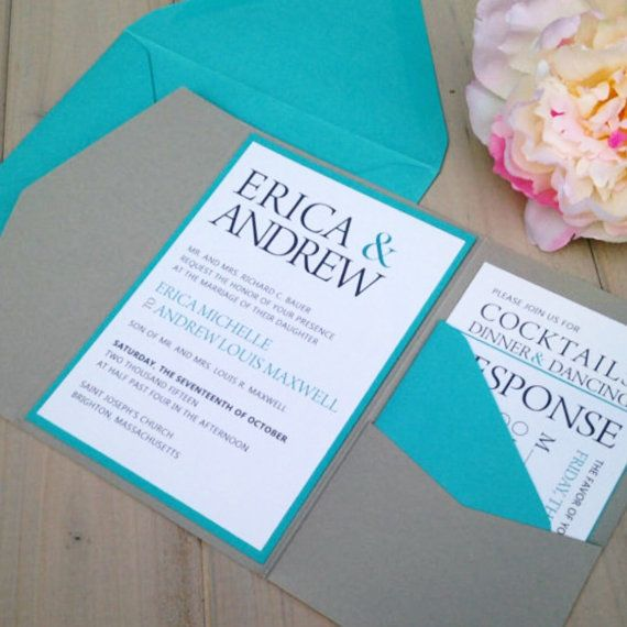 Superior GRAY AND TURQUOISE POCKET WEDDING INVITATION WITH MONOGRAM BAND This  Listing Is For Either A SAMPLE