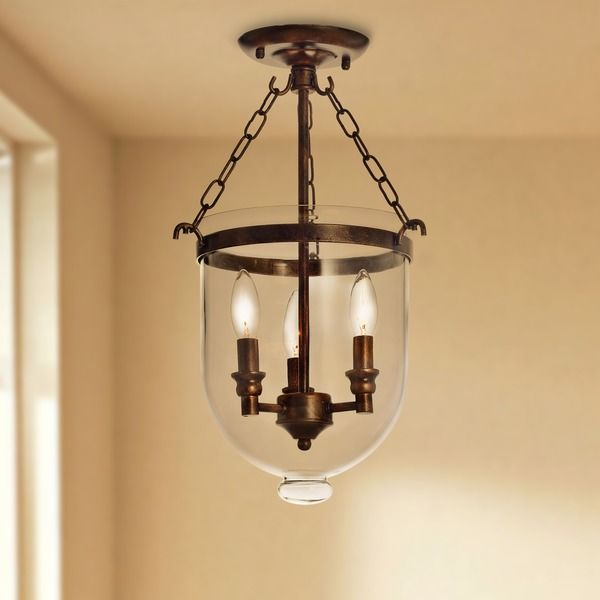 Antique Copper Glass Lantern Flush Mount Chandelier