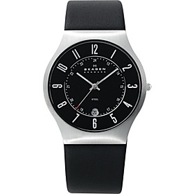 Skagen Black Leather and Steel Watch - Black with Silver - via eBags.com!