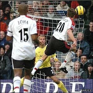 Brian McBride scores Fulham's second.