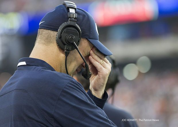 PENN STATE – FOOTBALL 2013 – Penn State coach Bill O'Brien cringes after Syracuse scores to come within 6 points during the fourth quarter at MetLife Stadium. Penn State beat Syracuse, 23-17.