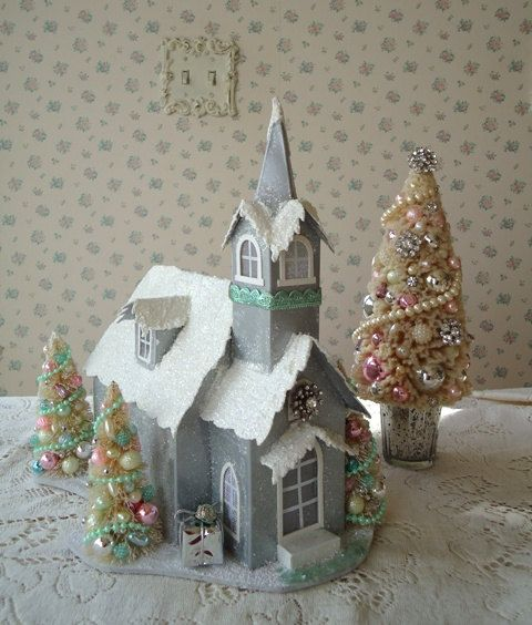 Lighted Christmas House Cathedral w Bottle Brush by IllusiveSwan, $42.00