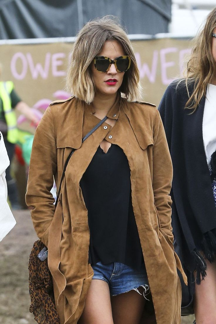 Caroline Flack wearing Zanzan 'Cinq A Sept' sunglasses at Glastonbury available from www.zanzan.co.uk  http://www.refinery29.com/2015/06/89749/glastonbury-street-style-pictures-2015#slide-16  Caroline Flack kills it in denim cutoffs paired with suede.