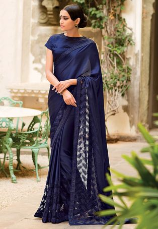 Embroidered Satin Saree In Navy Blue
