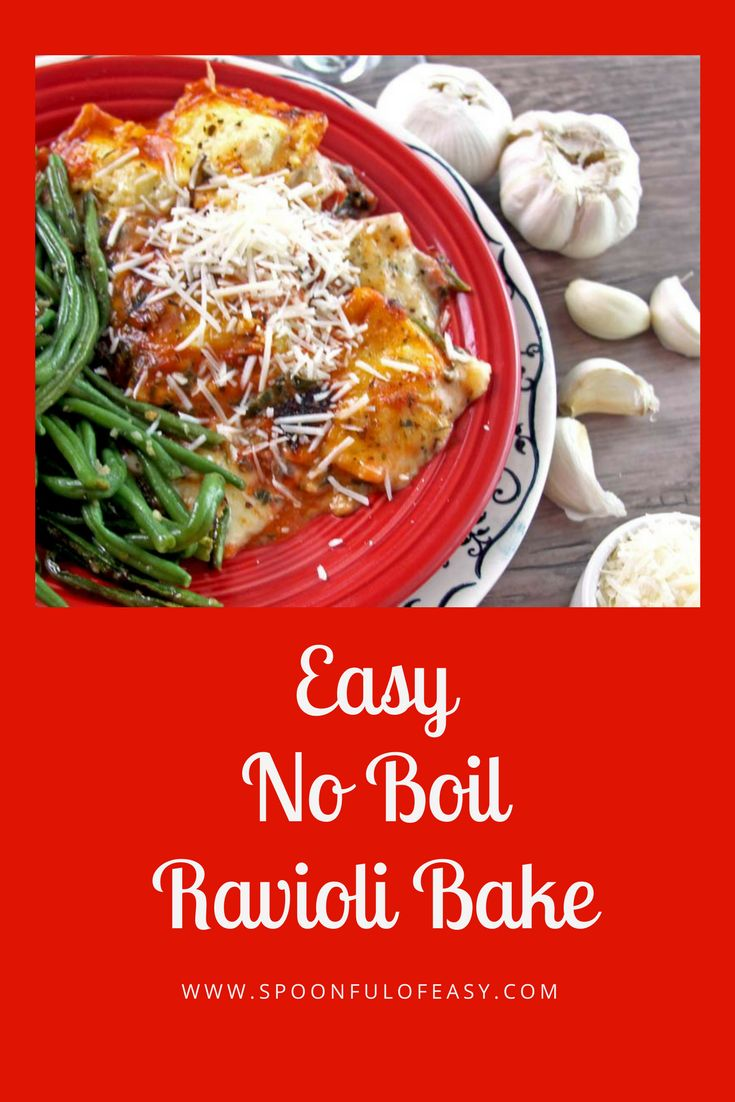 No-Boil Ravioli Bake ~ requires no pre-boiling or really any prep work. This go-to ravioli dinner comes together in minutes and bakes up hot and cheesy in the oven. #noboil #ravioli #noboilpasta #raviolibake