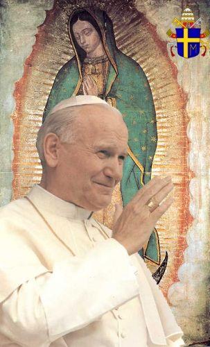 juan_pablo_ii_con_fondo_de_la_virgen_de_guadalupe_35635_t0.jpg (303×500) Beato Juan Pablo II, Pastor celoso de la Iglesia, su lema: ¡Todo tuyo! que resume su amor a la Virgen María