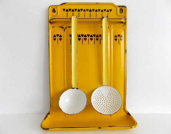 Gorgeous French enamel utensils rack in yellow and black with ladle and skimmer / French country wall decor / French farmhouse enamelware