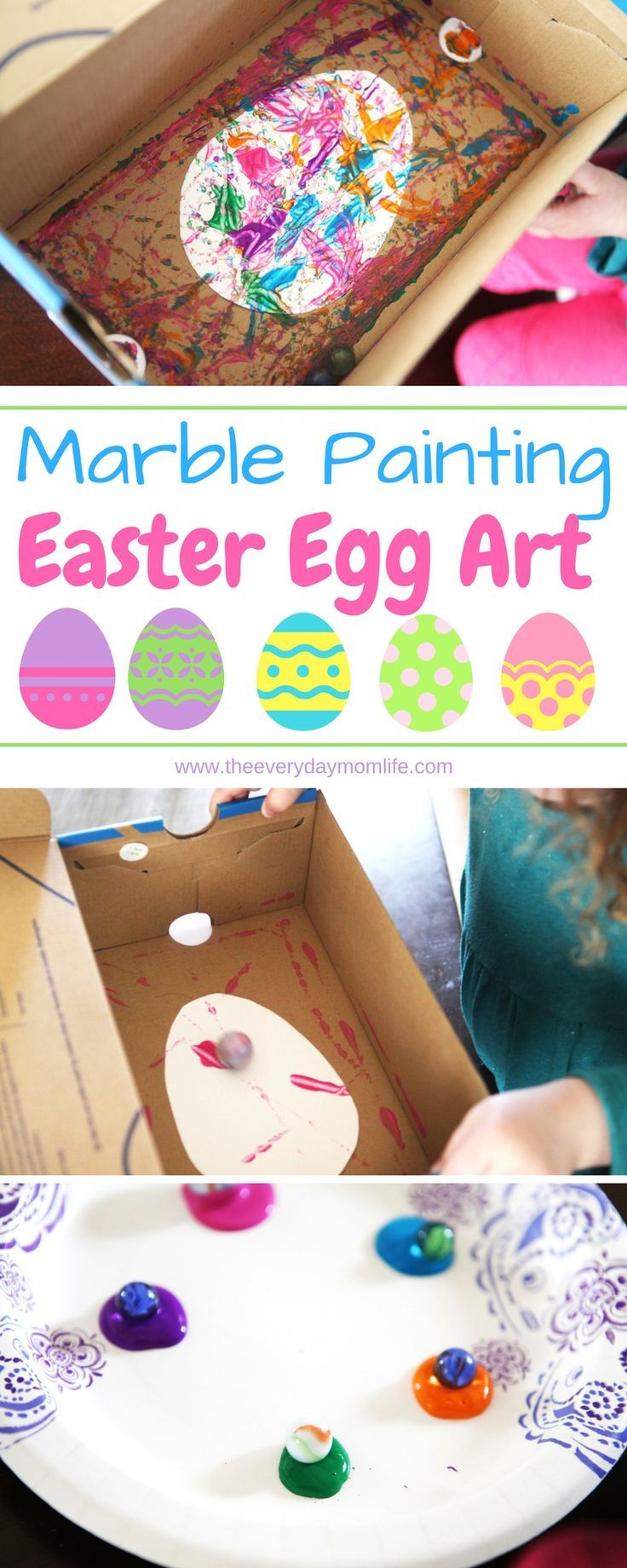 Marble Easter egg painting craft for kids that's fun, easy and turns out beautiful each time. This kids craft can be done by preschoolers, elementary kids and even older kids will have fun.