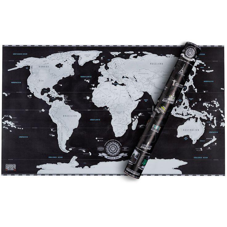 Weltkarte - zum Freirubbeln oder Nadeln rein pinnen