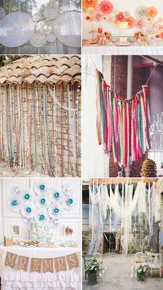 Telones de fondo para bodas: bastidores, cintas de colores y molinillos de papel!