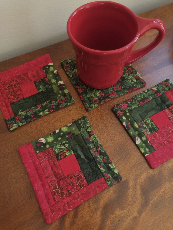 Christmas Quilted Log Cabin Coasters  Red & Green by seaquilt