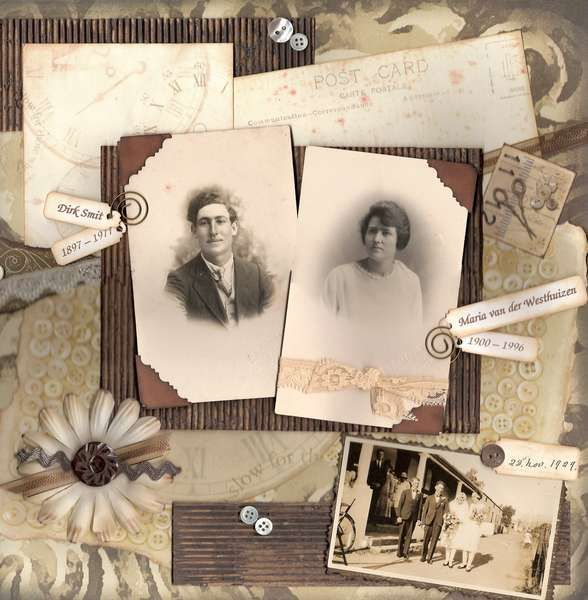 Dirk and Maria ~ Interesting heritage page with the look of an old fashioned collage. Love the inclusion of name tags with dates.