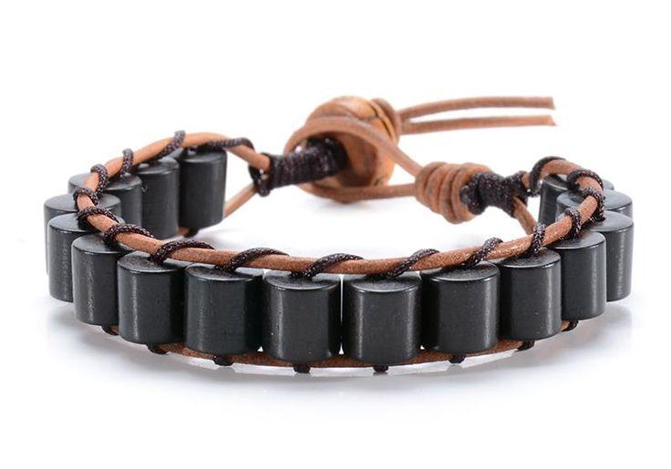 Black Ebony Wood Cylinder Men's Beaded Bracelet