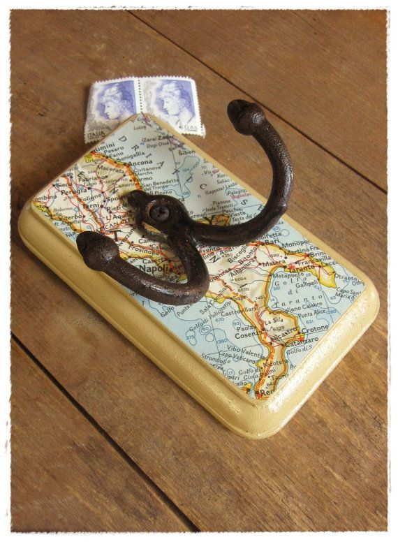 italy. vintage map wall hook by bee vintage redux.