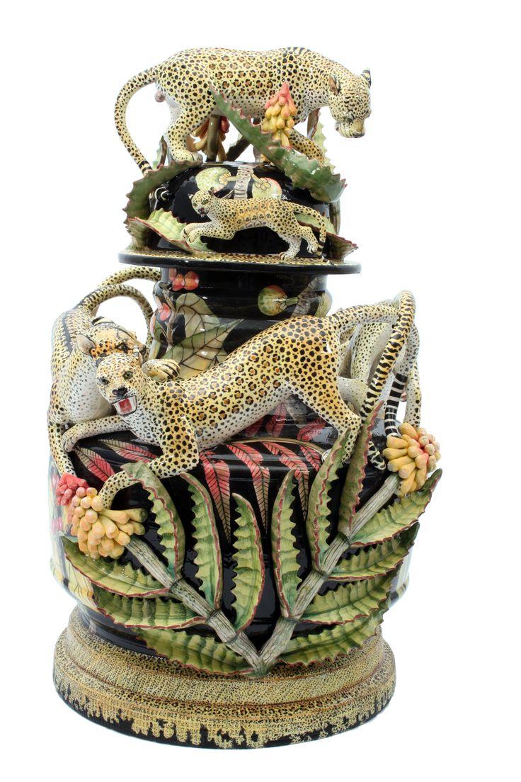 Animal and Botanical Leopard Urn created by George Manyathela, Thabo Mbhele and lovingly painted by Wiseman Ndlovu