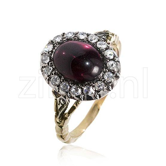 gouden-ring-granaat-roosdiamant