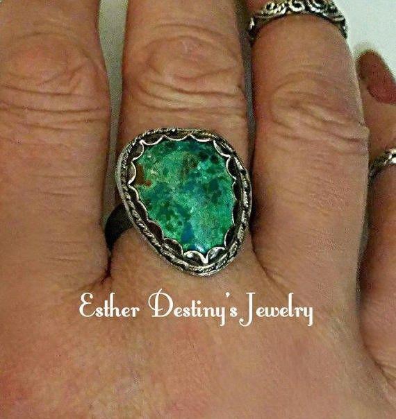 Chrysocolla Sterling Silver Statement Ring by EstherDestinysJewel