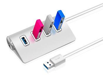 Fashion Silver High-Speed USB HUB USB 3.0 4-Port USB Hub with 39.4-inch cable