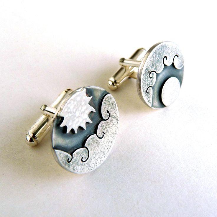 Sun and moon cufflinks   Contemporary Cufflinks by contemporary jewellery designer Becky Crow