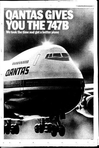Qantas 1971 full page newspaper advert (Sydney Morning Herald)