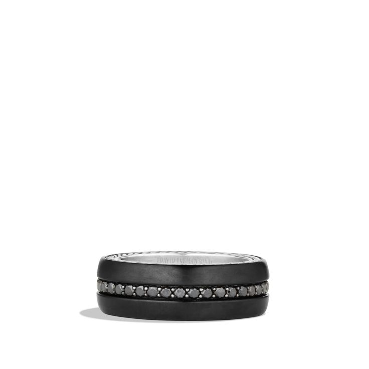 Streamline Wide Band Ring with Black Diamonds and Black Titanium $1850