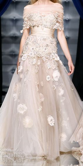 nude lace bridal dress
