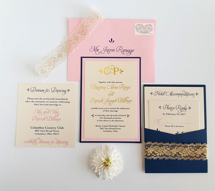 Pink Rose With Navy And Gold Accent Wedding Invitation. Classic Wedding  Invitation Style With Custom