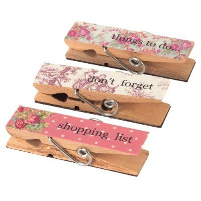 Twin pack of Shabby Chic Set of 3 Magnetic Organiser Pegs - Shopping List, Things To Do, Don't Forget Reminders for Organizing Invites, Tickets, School Memos
