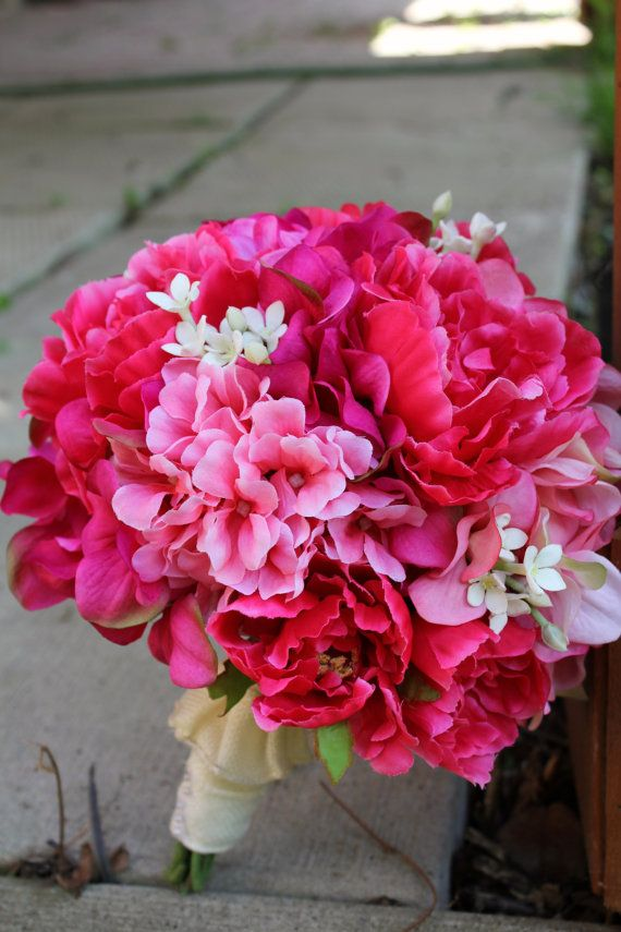 Blush Pink/Hot Pink Bouquet by Handmade Botanicals on Etsy