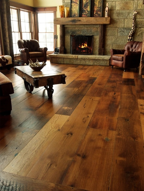 furniture - floor (thick, wood planks w/ several tones), fireplace mantel- Ill take it all  -  gorgeous, warm, rustic.