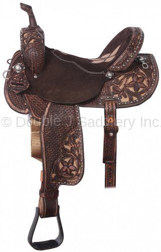 Pozzi Pro Barrel Racer with a Chocolate Suede seat & Boone Crackle Flower Inlay by Double J Saddlery.