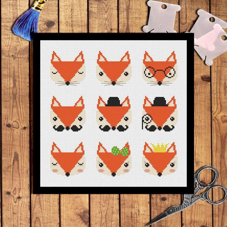 Nine cute fox cross stitch pattern Modern cross stitch pattern Animals cross stitch pattern Fox embroidery design Cross stitch Animals par AnnaXStitch sur Etsy https://www.etsy.com/fr/listing/477481443/nine-cute-fox-cross-stitch-pattern