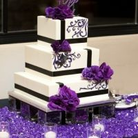 Vierkante Bruidstaart zwart/paars