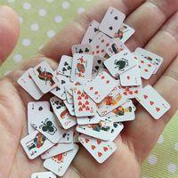 1 Пар Игральных Карт Милый 1:12 Кукольный Миниатюрная Сцена Реквизит Покер Игральные Карты Модель DIY Кукольный Домик Украшение Аксессуар