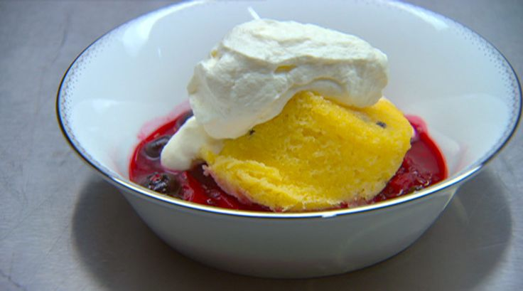 80 40 20 - Passionfruit sponge - marinated berries - whipped cream