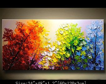 contemporary wall art,Palette Knife Painting,colorful tree painting,wall decor Home Decor,Acrylic Textured Painting ON Canvas by Chen 0908