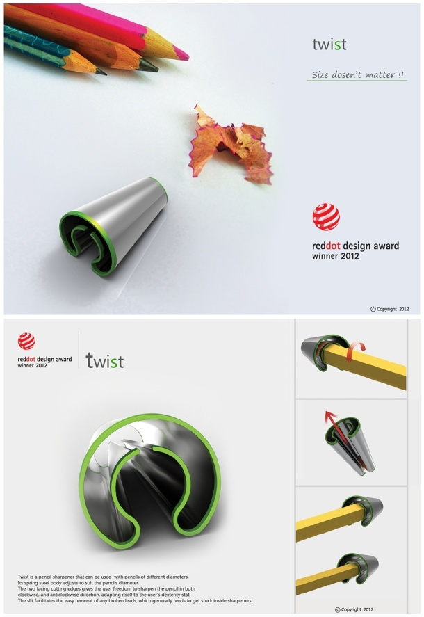 Twist by Abhishek Anupam / For different pencil size /  red dot design concept 2012 winner