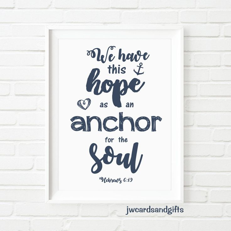 Hebrews 6:19  wall art print Instant download scripture art jw.org jehovah's witnesses by JWcardsandgifts on Etsy