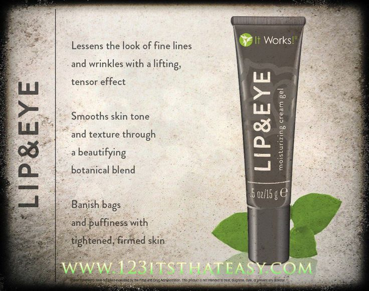 A must-have in any beauty routine is our ItWorks! Lip and Eye cream gel! Unlike some brands that specifically target just under the eyes, this product by ItWorks! targets both lips and eyes, to lesson the look of fine lines, wrinkles,bags, and puffiness by creating a tensor effect to give the delicate skin around your lips and eyes a youthful lift while tightening and firming the skin. If your looking for an instant lift with long lasting result then give me a call 204-299-9824…