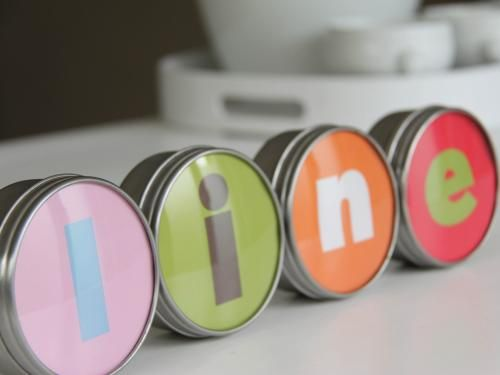 Ikea Hack - Letters for Grundtal tins.