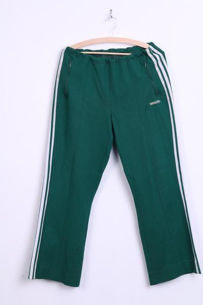 Adidas Mens 8 XL Vintage Trousers Tracksuit Pants Green Retro 70s 3stripes - RetrospectClothes