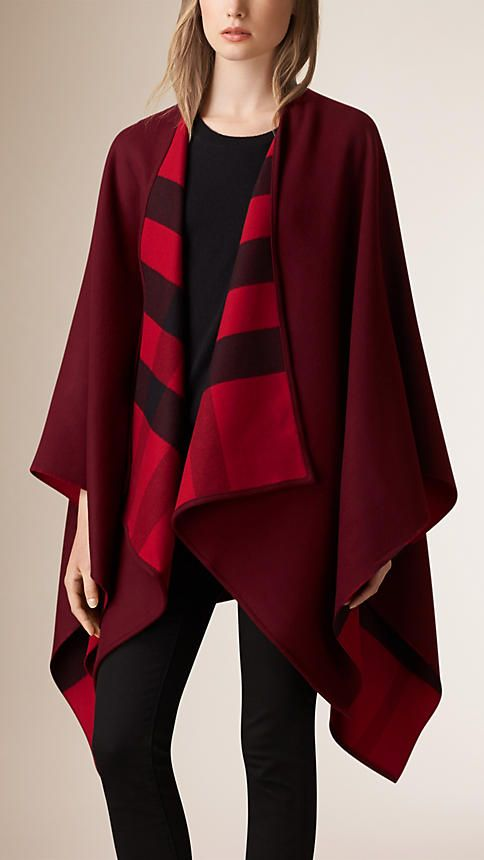 Parade red Check-Lined Wool Poncho - Image 1