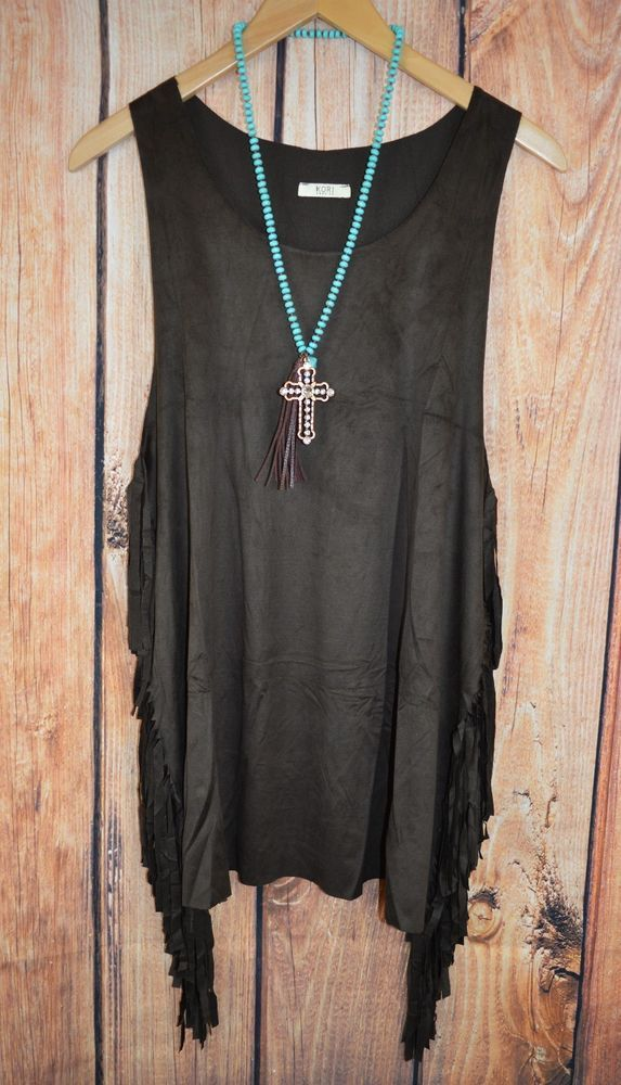 KORI Cowgirl Boho Gypsy Fringe Festival Brown Western Top Shirt Tunic LARGE #ladysworld #tunic
