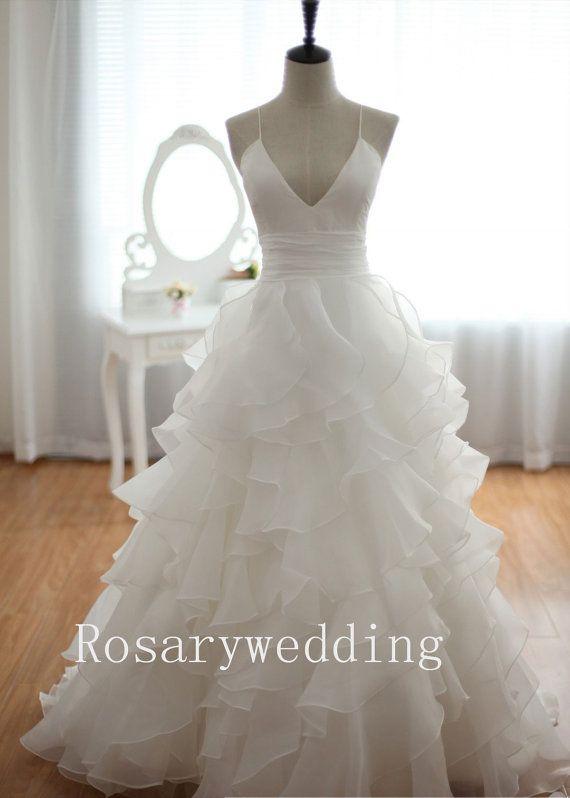 Sexy criss cross back multi layers organza by Rosaryweddingdress, $315.00 #escherpe