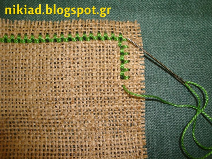How to keep burlap or linen from fraying (Nun stitch) >> Great for bookmark edges