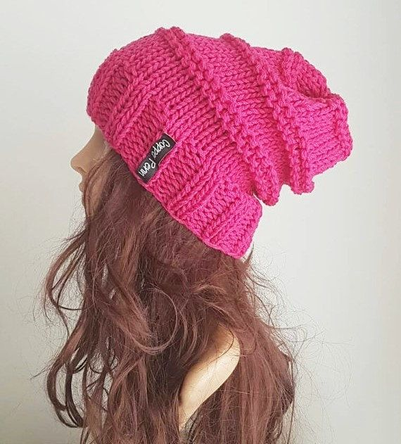 Pink beanie,slouchy beanie, Hot pink chunky knit slouch hat, Womans beanie,winter hat. slouch beanie. Hipster hat,Merino beanie, wool hat.   Cheer yourself up on a glum day, by wearing this hot pink beanie.  Made with 3 strands of beautiful quality merino wool , it will keep you warm and cozy across those cold winter months.  This beanie has been knitted as one piece with no seams, I have used beautiful quality Australian Merino wool it will last for many years!  This beanie comes packaged…
