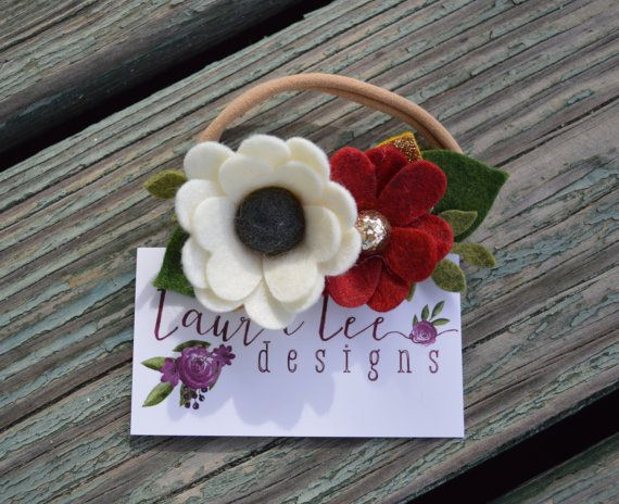 READY TO SHIP Cream and Red Felt Flowers on by LauraLeeDesigns108